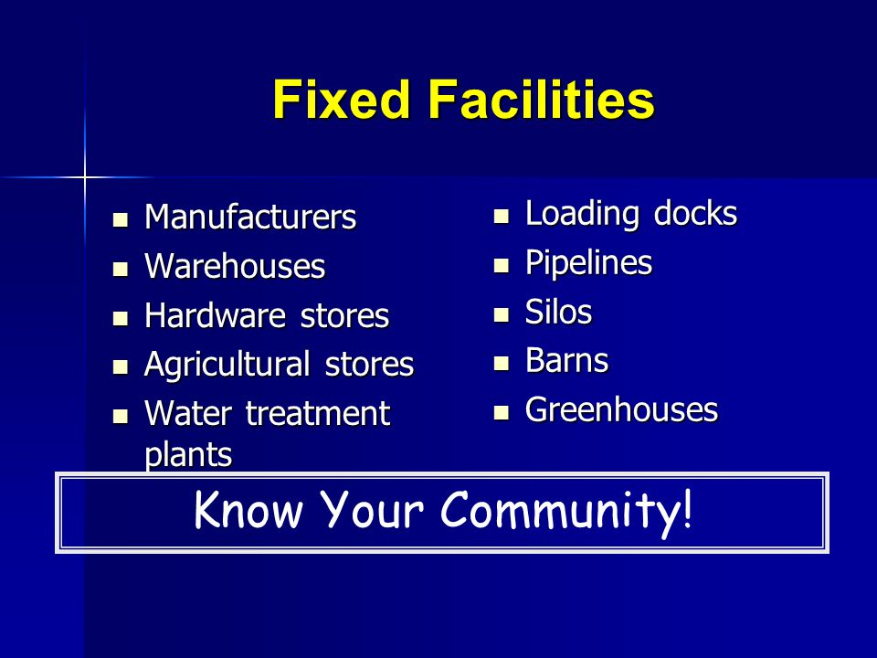 Fixed Facilities Know Your Community! Loading docks Manufacturers