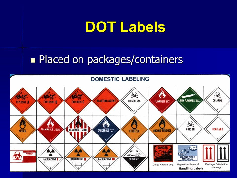 DOT Labels Placed on packages/containers