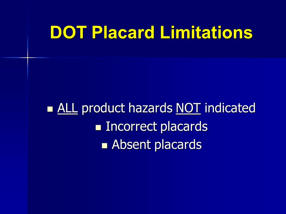 DOT Placard Limitations