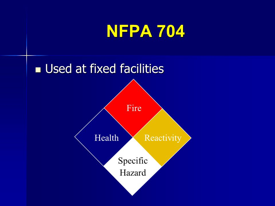 NFPA 704 Used at fixed facilities Health Fire Reactivity Specific