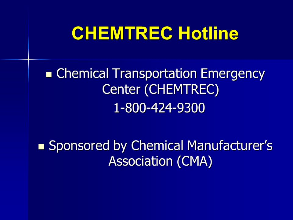 CHEMTREC Hotline Chemical Transportation Emergency Center (CHEMTREC)
