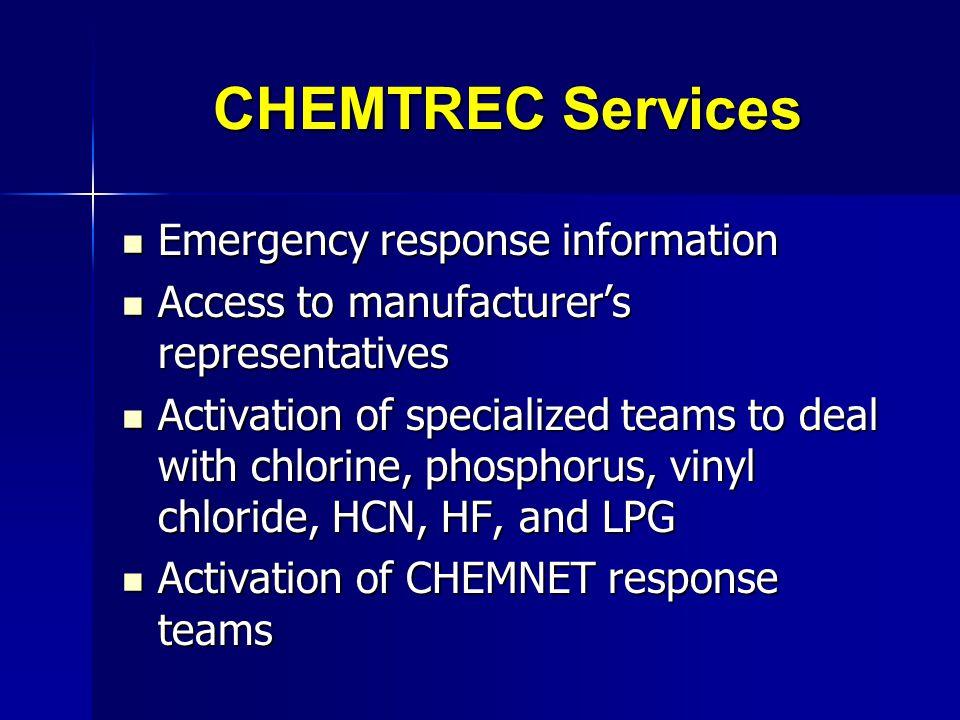 CHEMTREC Services Emergency response information