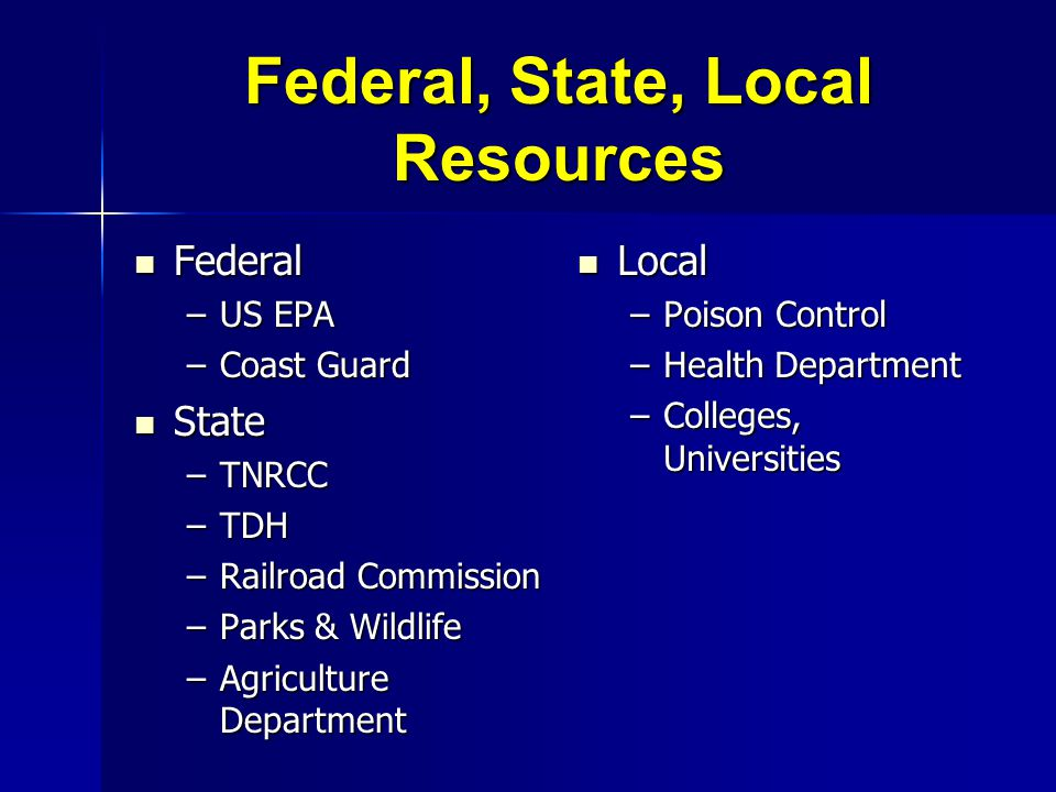 Federal, State, Local Resources