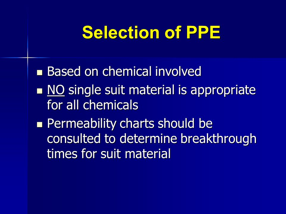 Selection of PPE Based on chemical involved