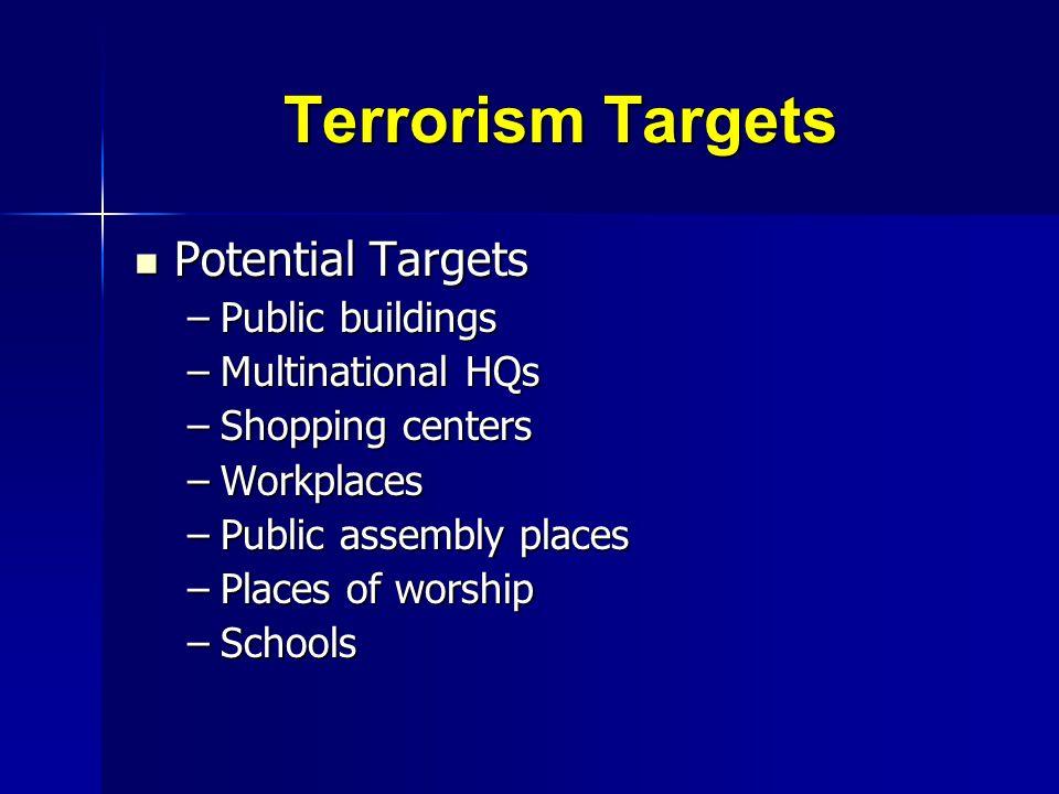 Terrorism Targets Potential Targets Public buildings Multinational HQs