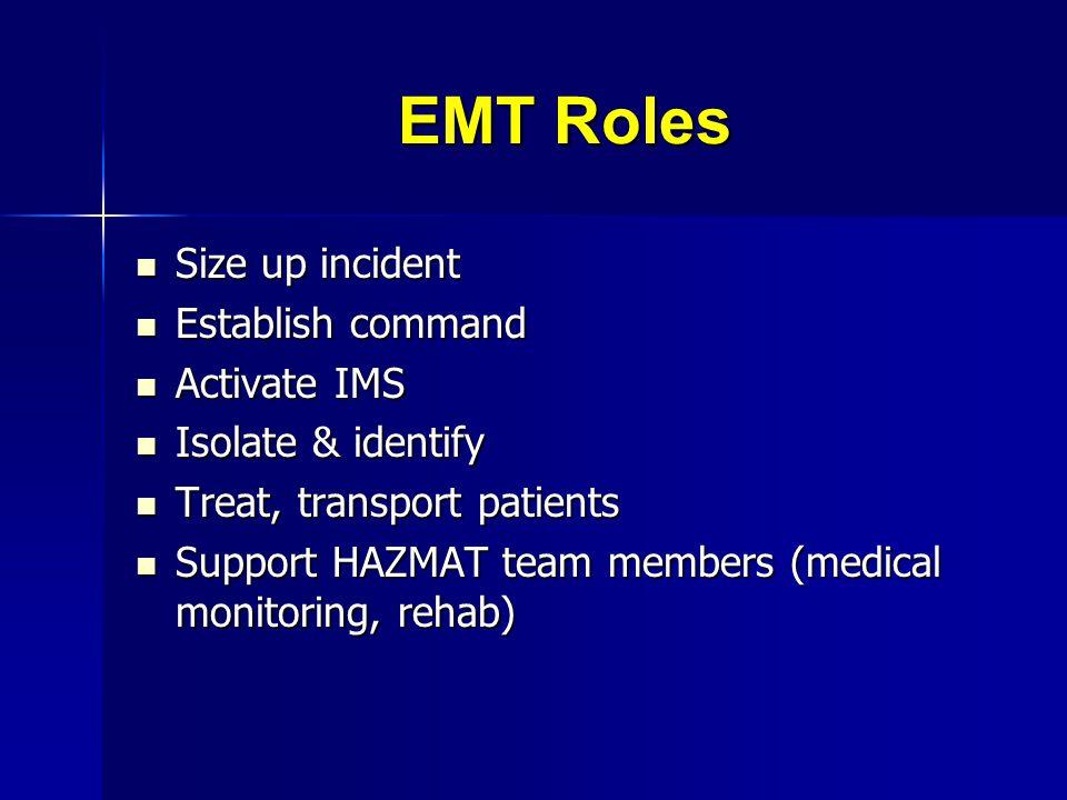 EMT Roles Size up incident Establish command Activate IMS