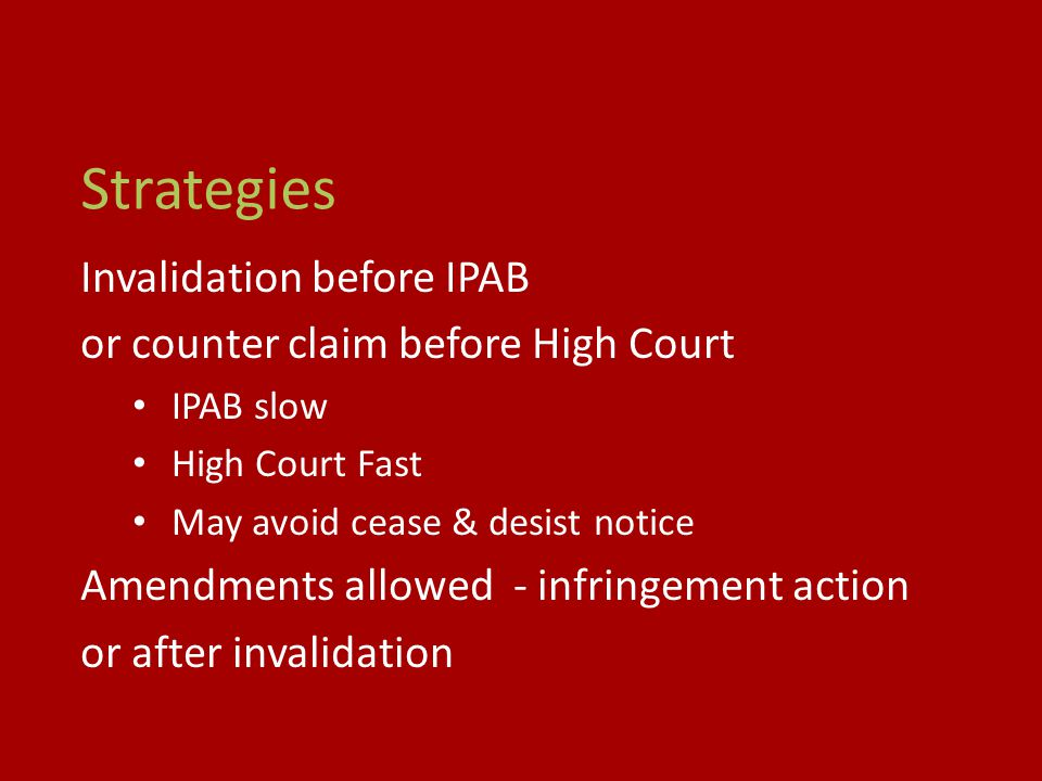 Strategies Invalidation before IPAB or counter claim before High Court