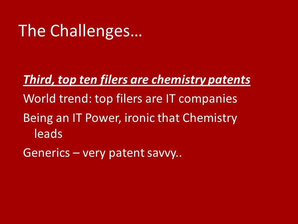 The Challenges… Third, top ten filers are chemistry patents