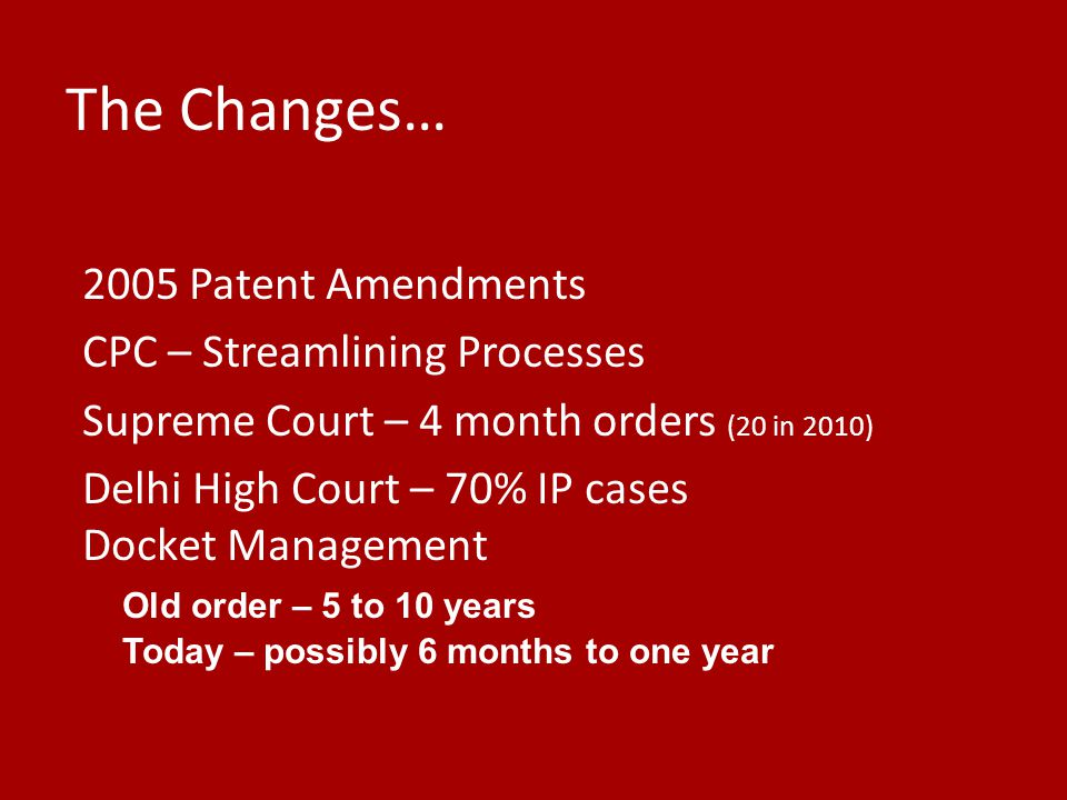 The Changes… 2005 Patent Amendments CPC – Streamlining Processes