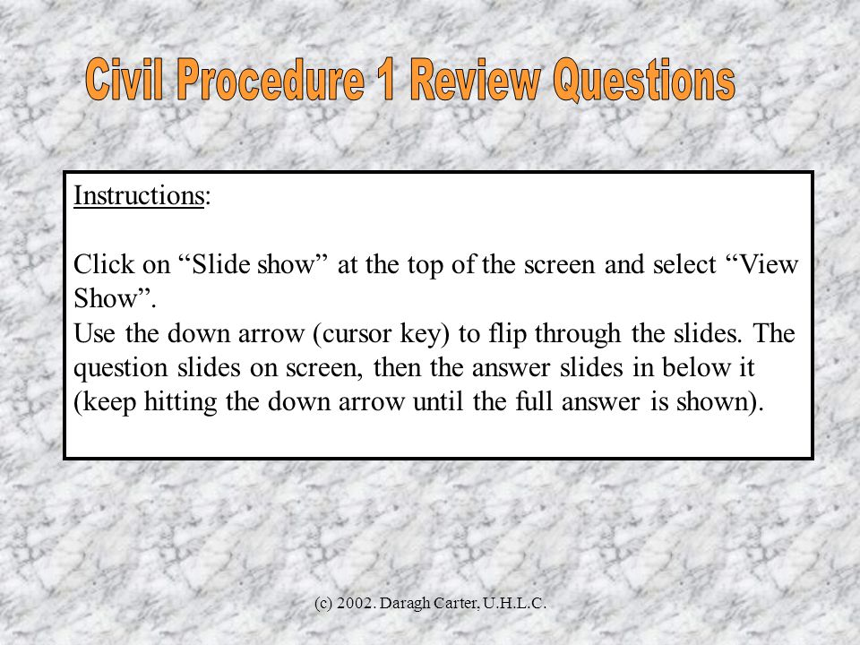 Civil Procedure 1 Review Questions