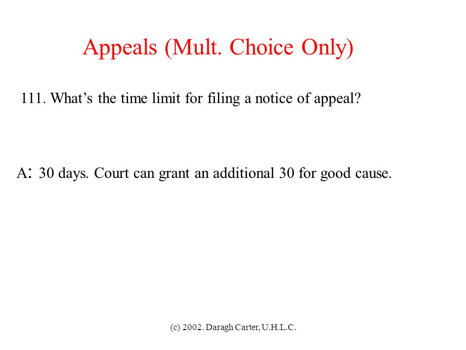 Appeals (Mult. Choice Only)
