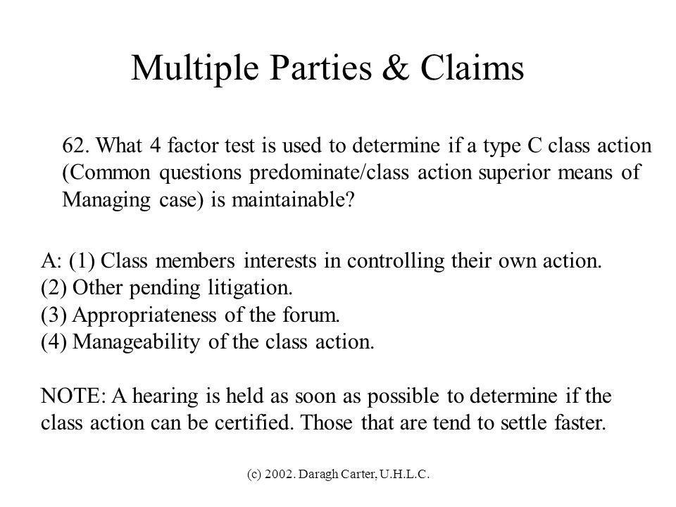 Multiple Parties & Claims