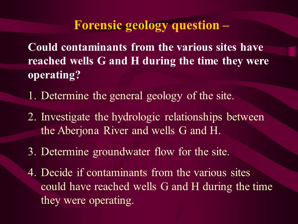 Forensic geology question –