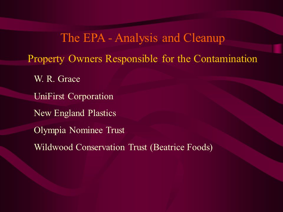 The EPA - Analysis and Cleanup