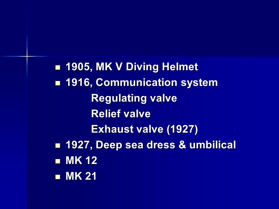 1905, MK V Diving Helmet 1916, Communication system. Regulating valve. Relief valve. Exhaust valve (1927)