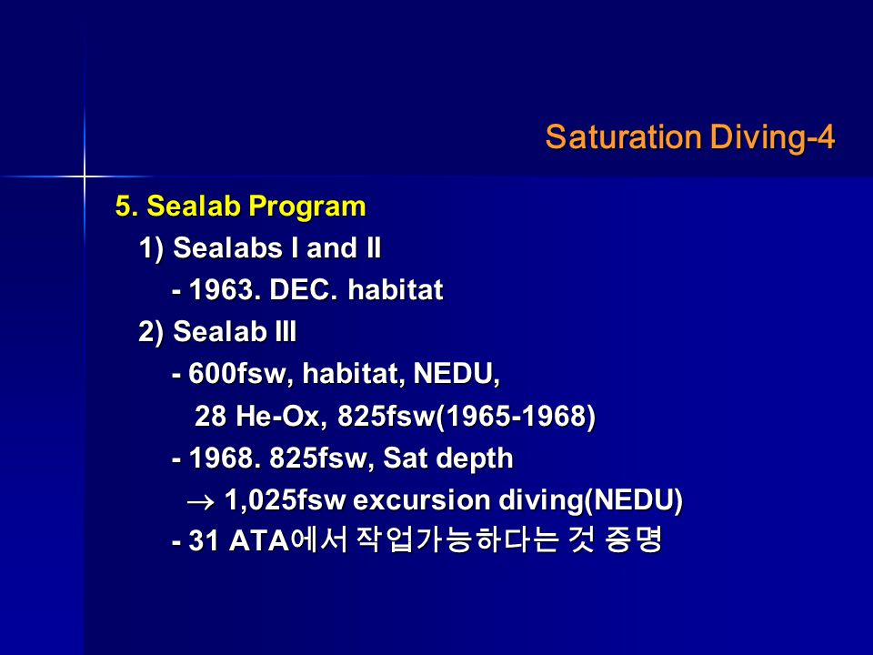 Saturation Diving-4 5. Sealab Program 1) Sealabs I and II