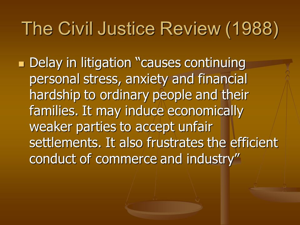 The Civil Justice Review (1988)