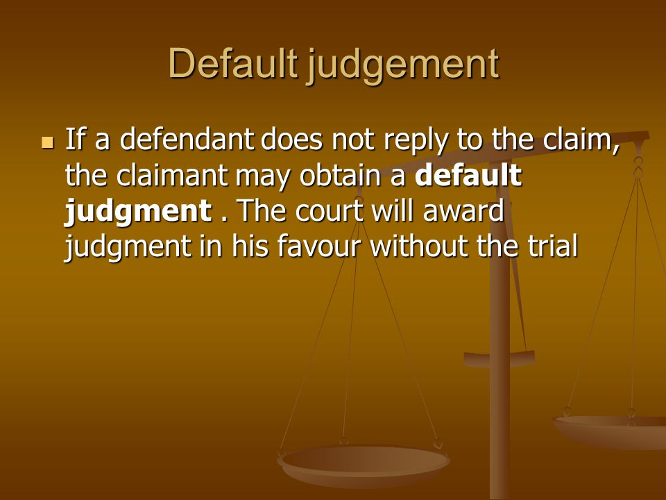 Default judgement