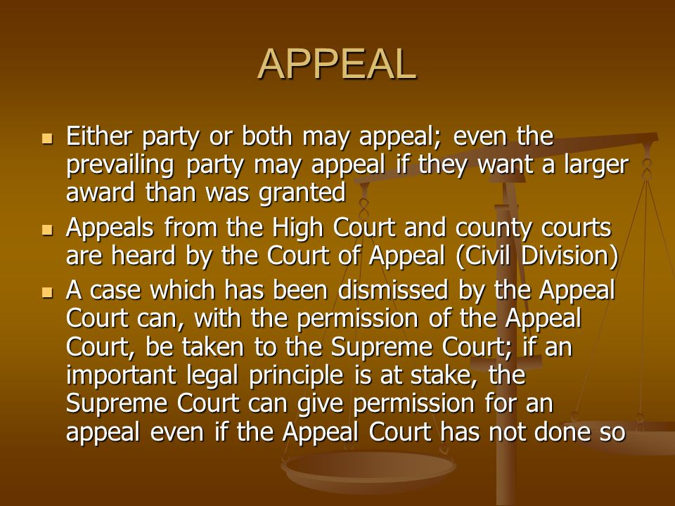 APPEAL Either party or both may appeal; even the prevailing party may appeal if they want a larger award than was granted.