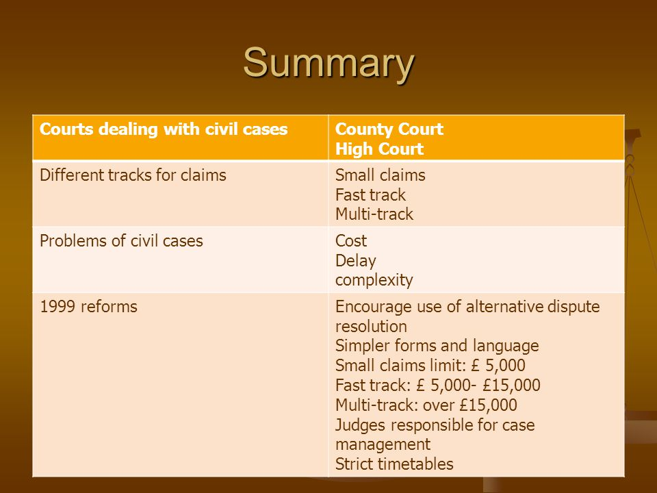 Summary Courts dealing with civil cases County Court High Court