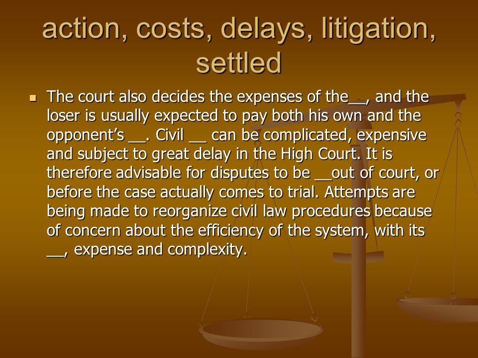 action, costs, delays, litigation, settled