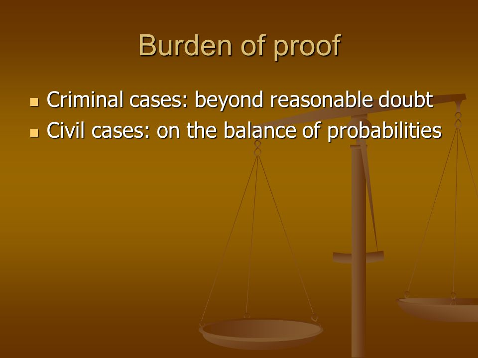 Burden of proof Criminal cases: beyond reasonable doubt