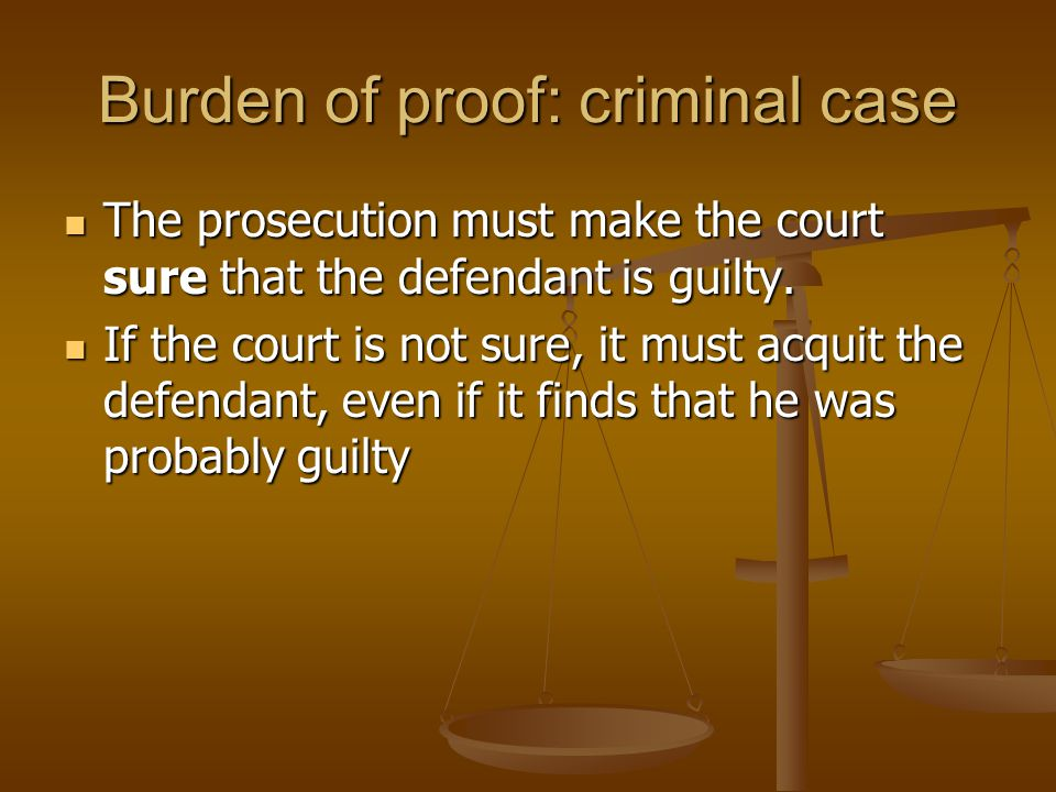 Burden of proof: criminal case