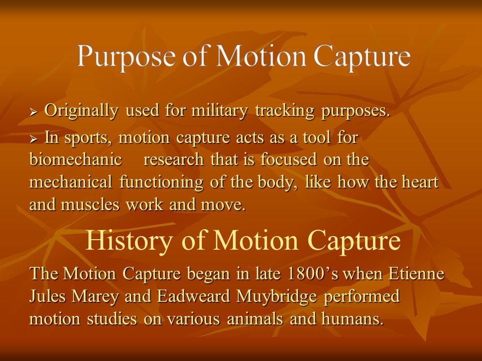 Purpose of Motion Capture