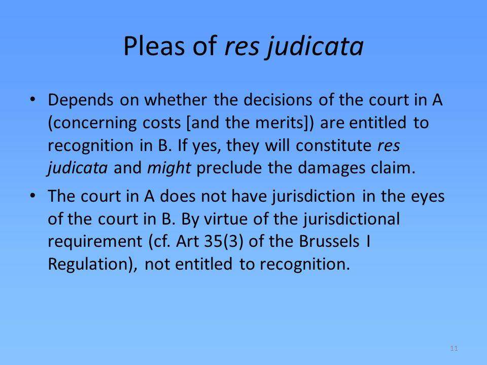 Pleas of res judicata