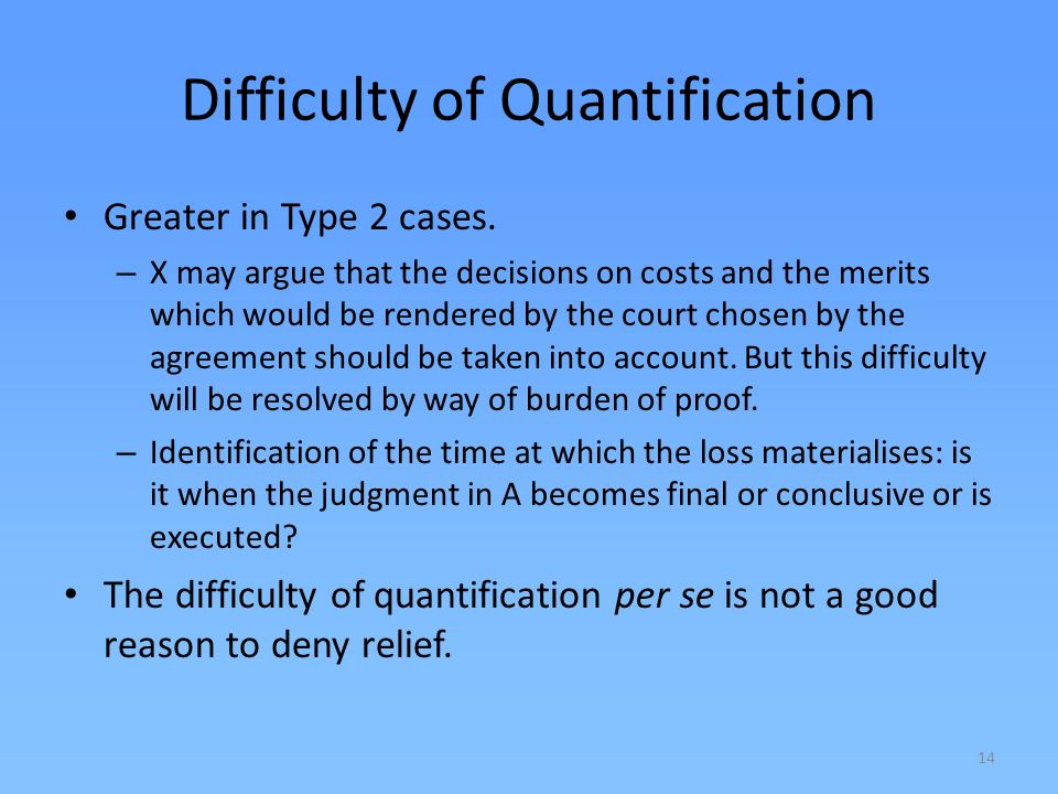 Difficulty of Quantification