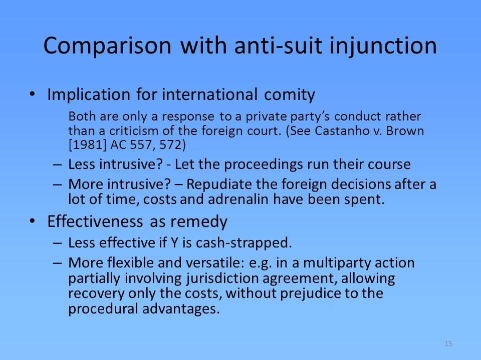 Comparison with anti-suit injunction