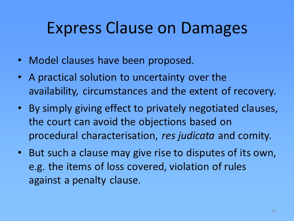 Express Clause on Damages