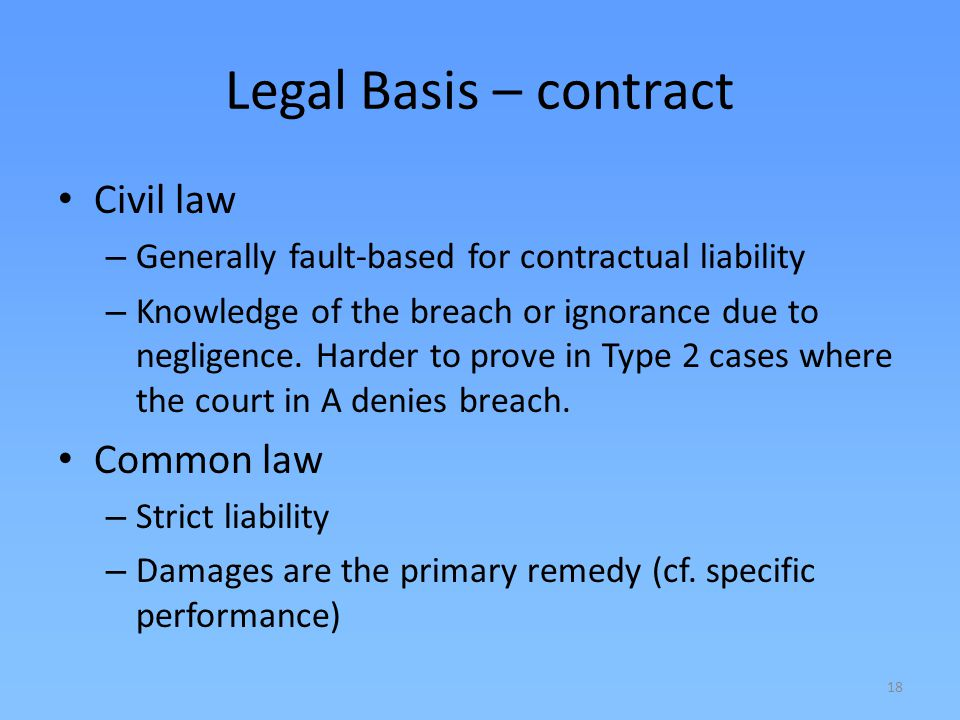 Legal Basis – contract Civil law Common law