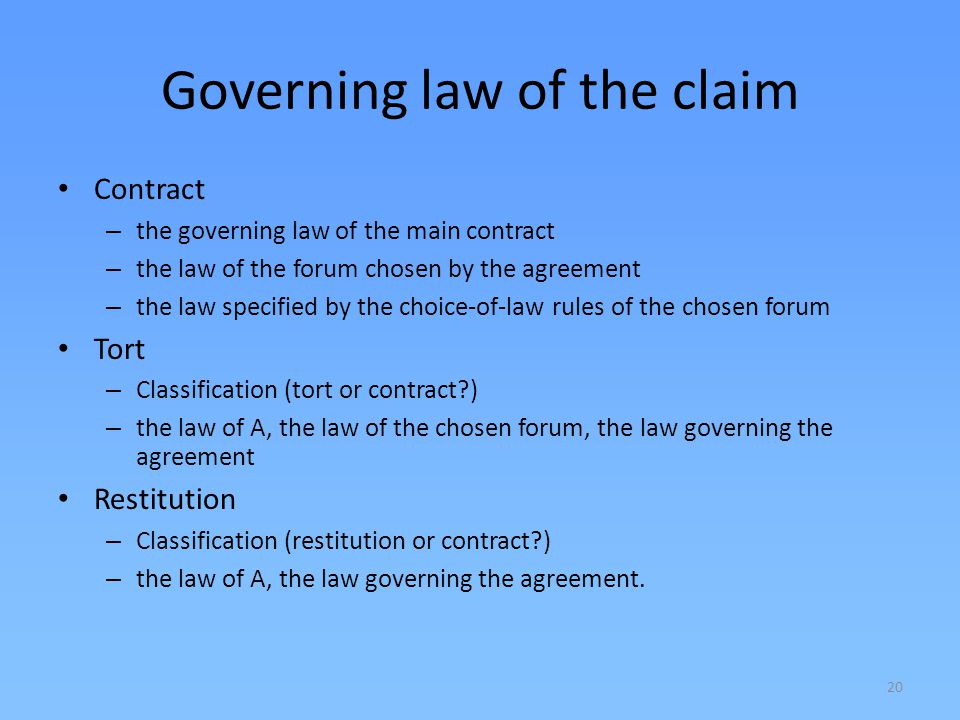 Governing law of the claim