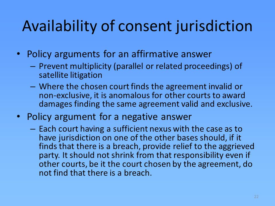 Availability of consent jurisdiction