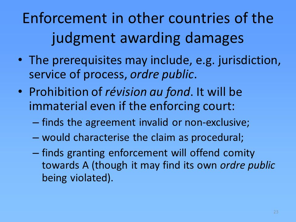 Enforcement in other countries of the judgment awarding damages