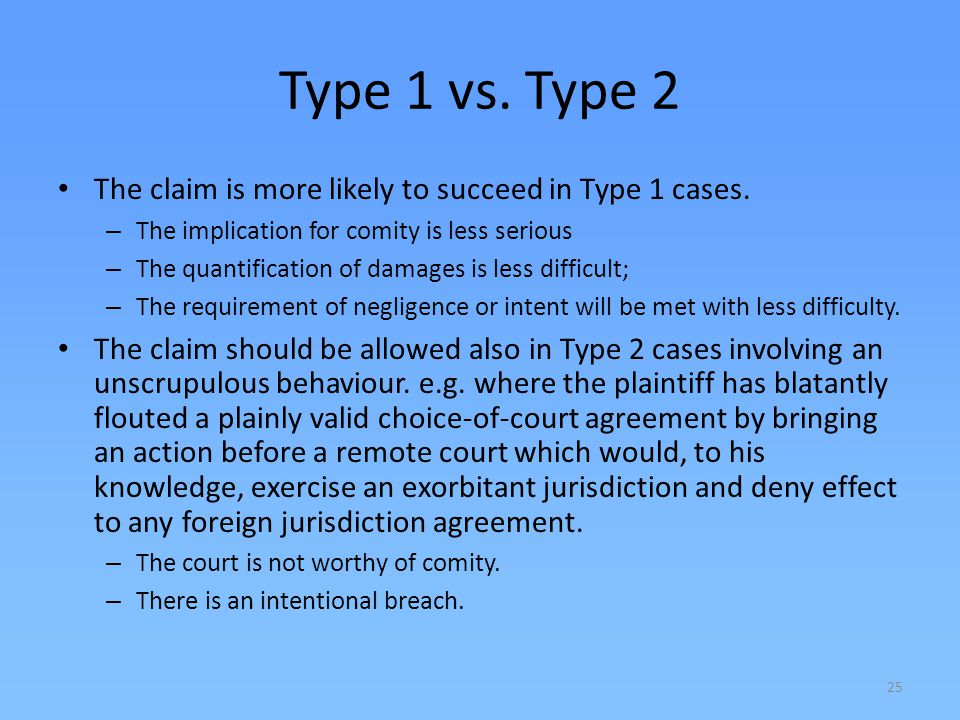 Type 1 vs. Type 2 The claim is more likely to succeed in Type 1 cases.