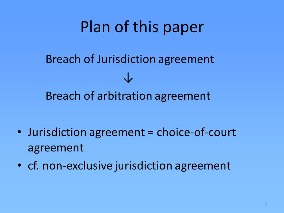 Plan of this paper Breach of Jurisdiction agreement ↓