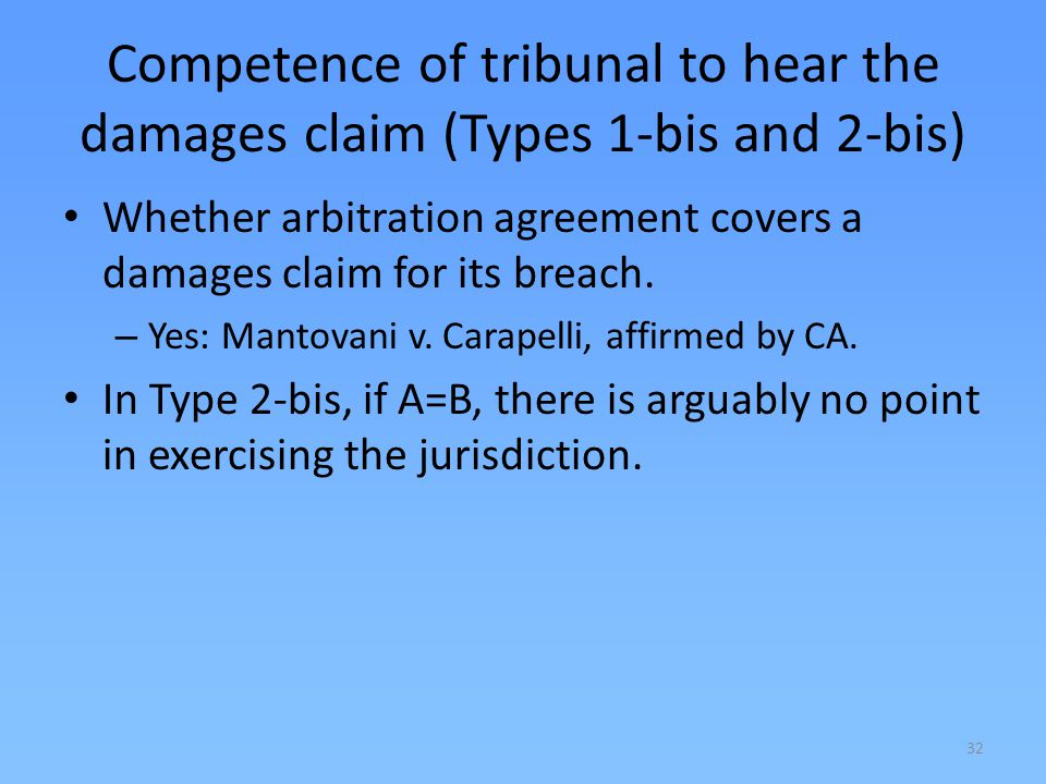 Competence of tribunal to hear the damages claim (Types 1-bis and 2-bis)