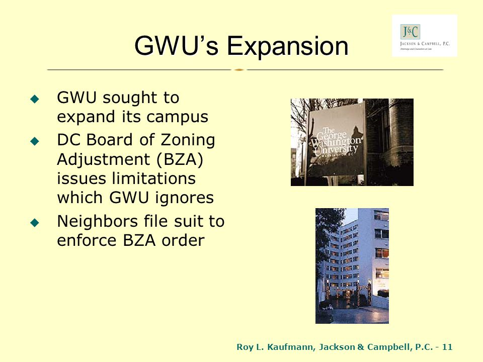 GWU's Expansion GWU sought to expand its campus