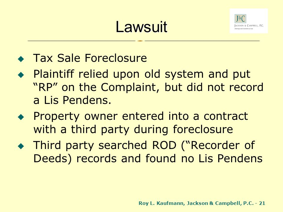 Lawsuit Tax Sale Foreclosure