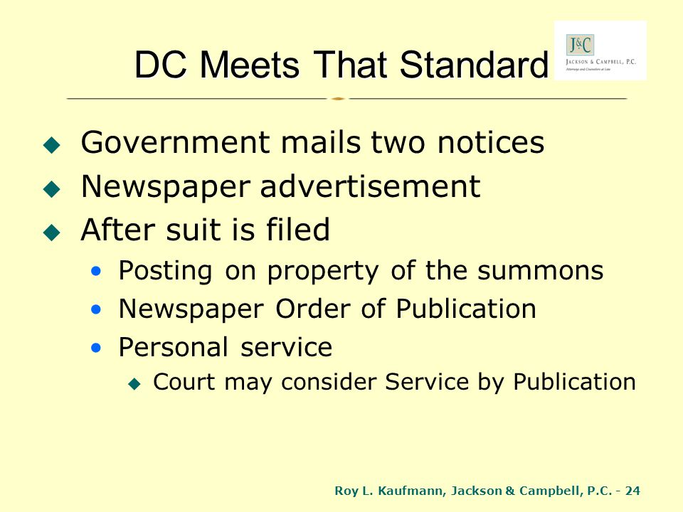 DC Meets That Standard Government mails two notices