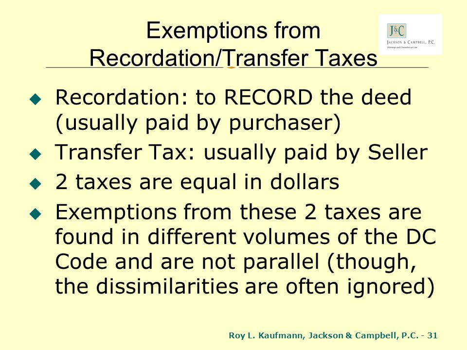 Exemptions from Recordation/Transfer Taxes
