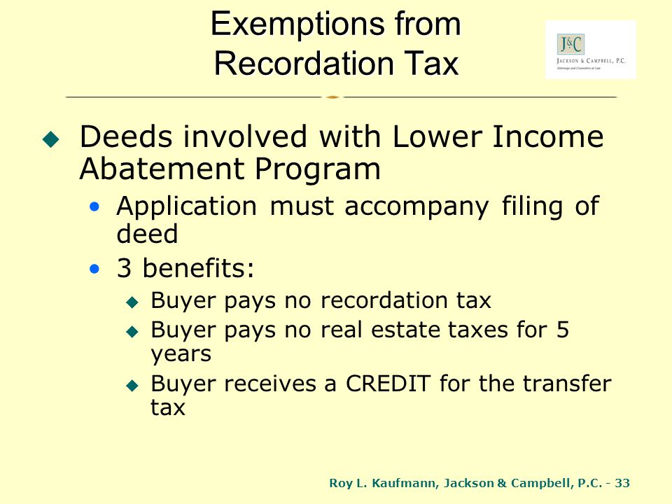 Exemptions from Recordation Tax