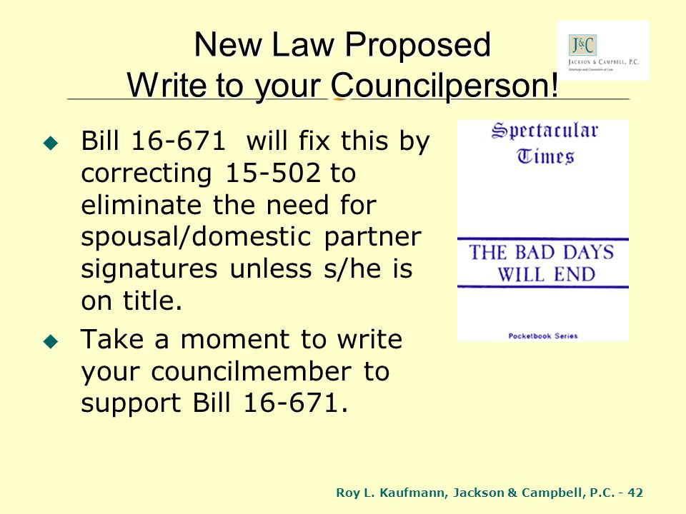 New Law Proposed Write to your Councilperson!
