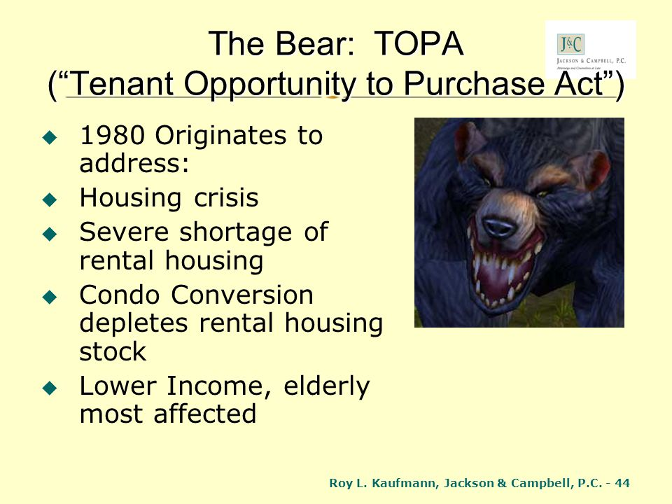 The Bear: TOPA ( Tenant Opportunity to Purchase Act )