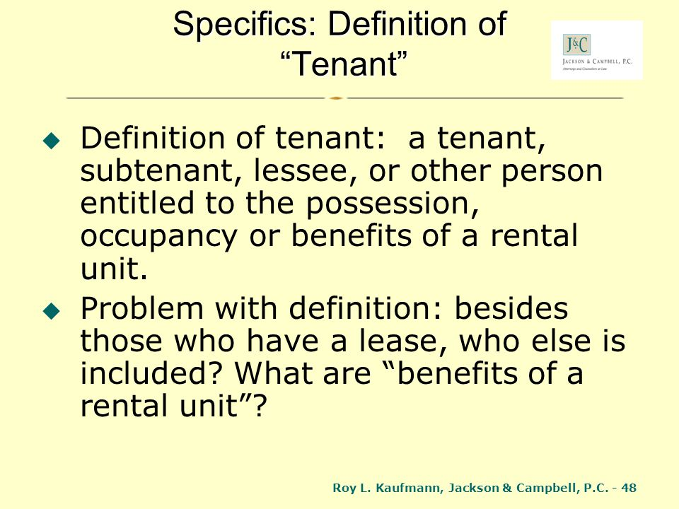 Specifics: Definition of Tenant