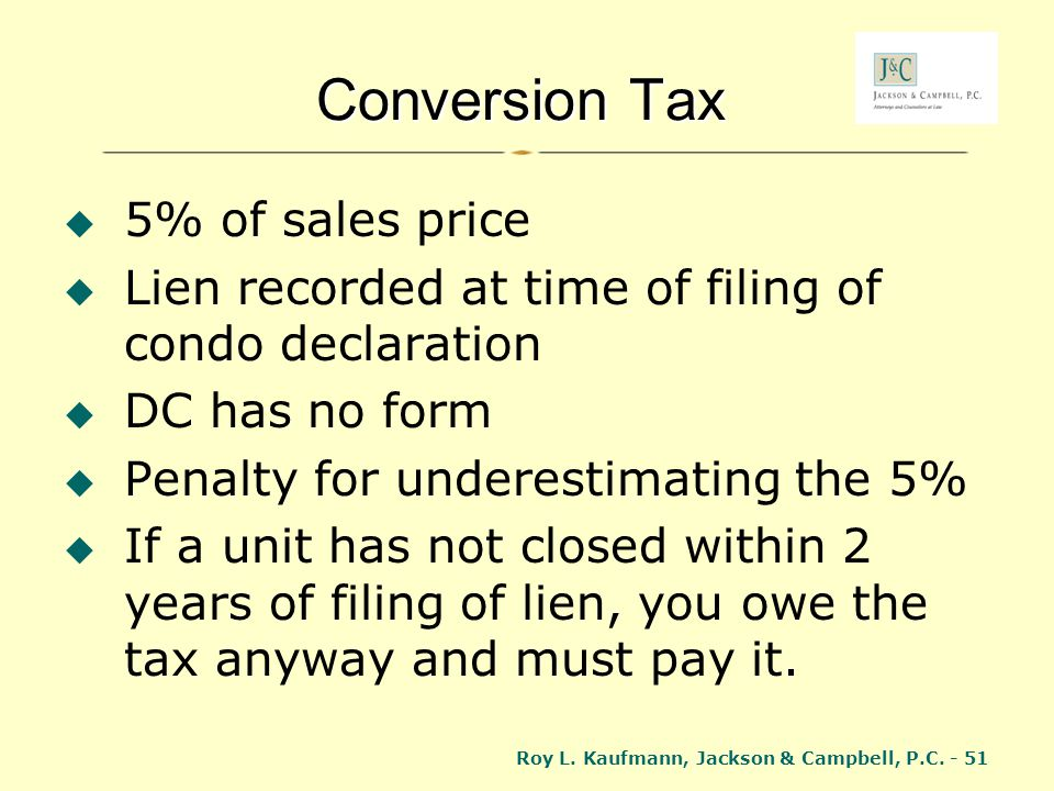 Conversion Tax 5% of sales price