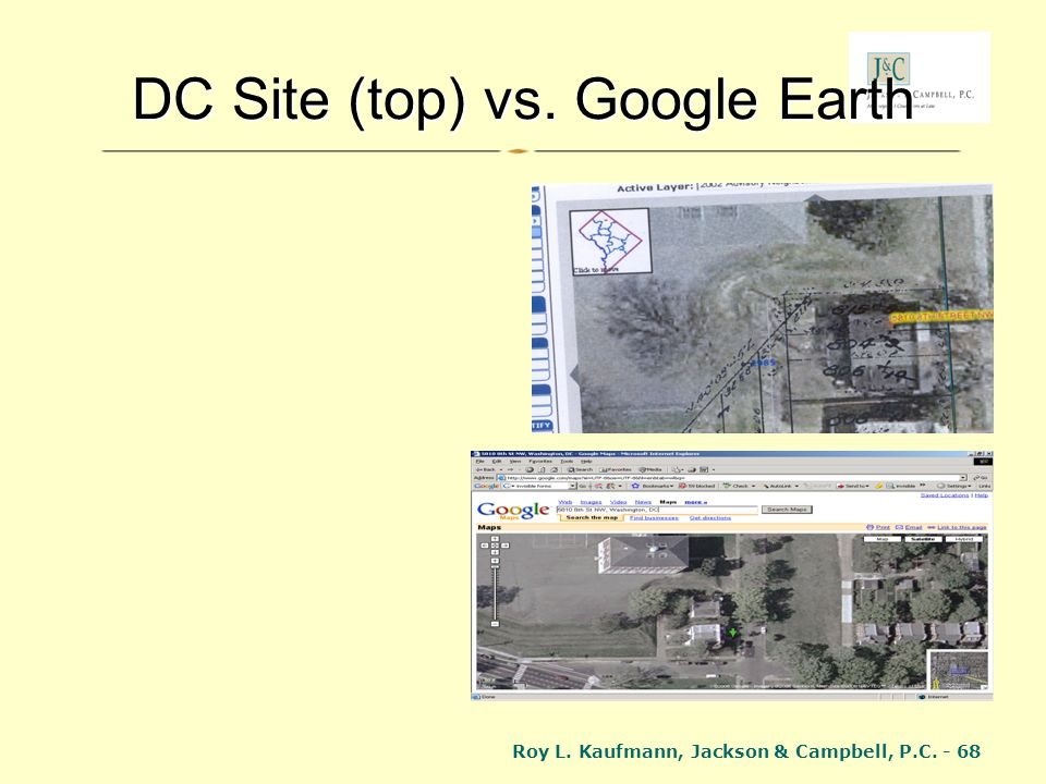 DC Site (top) vs. Google Earth