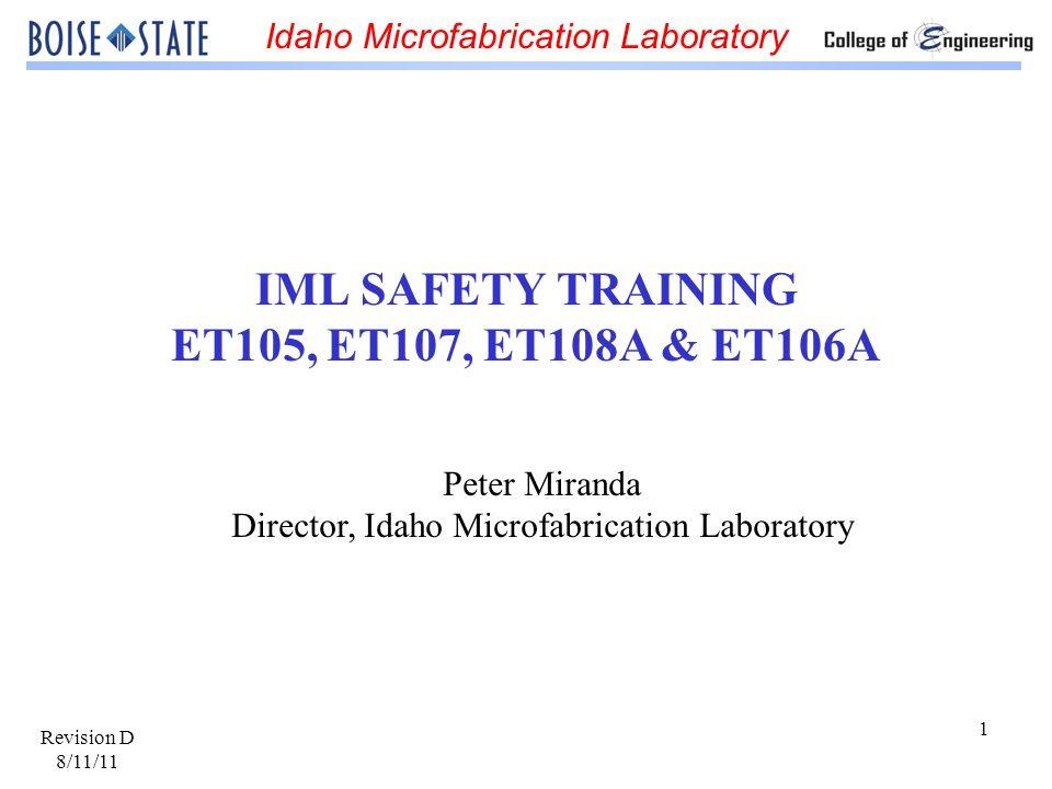 IML SAFETY TRAINING ET105, ET107, ET108A & ET106A